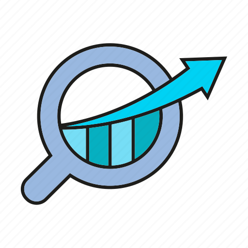 analytics, arrow, chart, data, data analysis, graph, magnifier icon