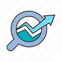 analytics, arrow, chart, data analysis, graph, growth, magnifier icon