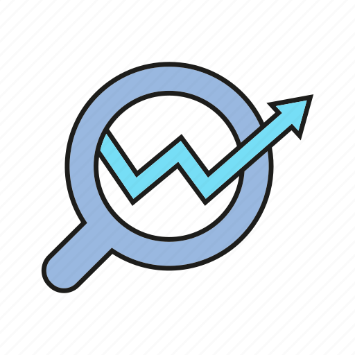 analytics, arrow, chart, data analysis, graph, growth, magnifier icon