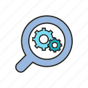 analytics, chart, data analysis, gear, graph, magnifier, optimization icon