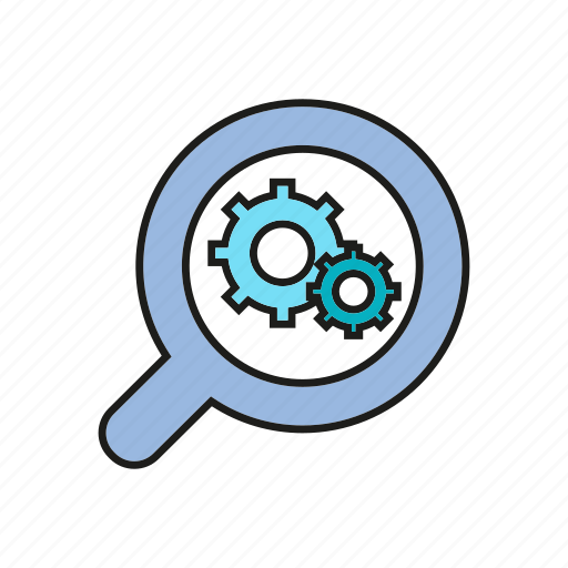 analytics, chart, data analysis, gear, graph, magnifier, optimization icon