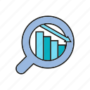 analytics, chart, data, data analysis, decrease, graph, magnifier icon