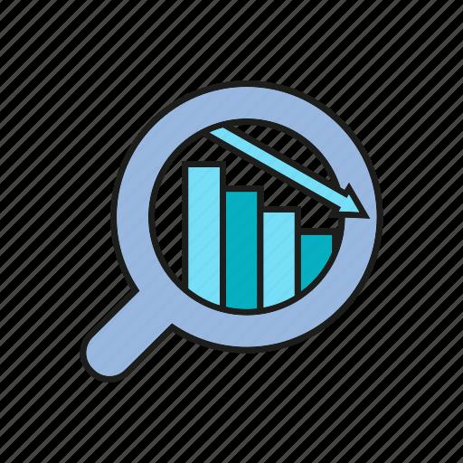 analytics, chart, data, data analysis, decrease, graph, magnifier icon