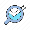analytics, arrow, chart, data, data analysis, graph, magnifier icon