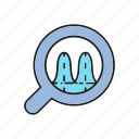 analytics, chart, data, data analysis, graph, magnifier, signal icon