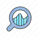 analytics, chart, data, data analysis, finance, graph, magnifier icon