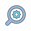 analytics, data analysis, gear, magnifier, optimization icon