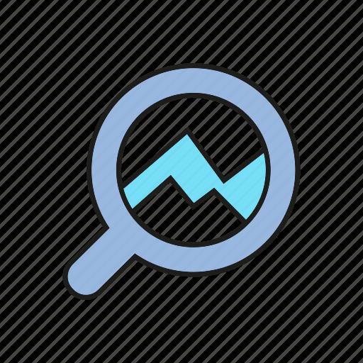 analytics, chart, data, data analysis, finance, graph, magnifier icon