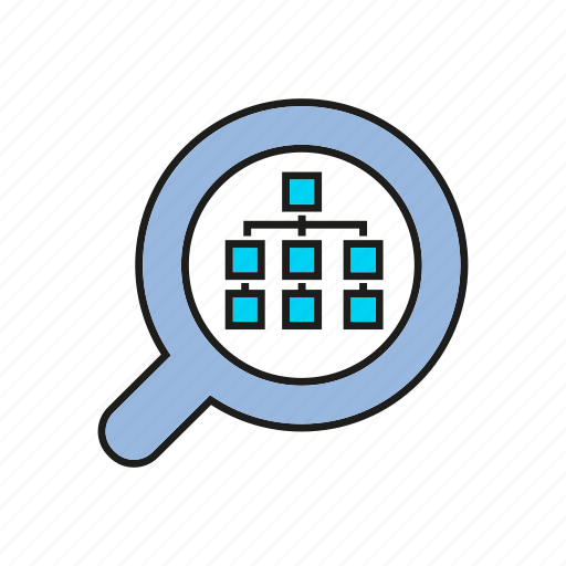 analytics, chart, data, data analysis, diagram, graph, magnifier icon