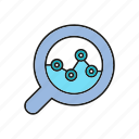 analytics, chart, data, data analysis, graph, magnifier, plot icon