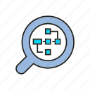 analytics, chart, data, diagram, finance, graph, magnifier icon