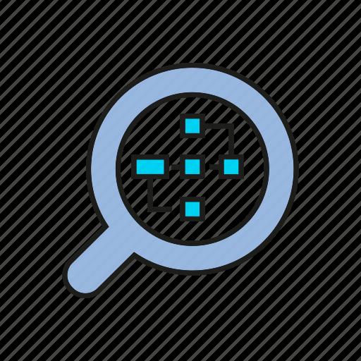 analytics, chart, data, diagram, finance, graph, magnifier icon