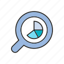 analytics, chart, data, data analysis, graph, magnifier, stats icon