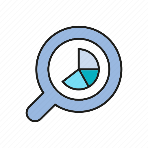 analytics, chart, data, data analysis, graph, magnifier, stats icon