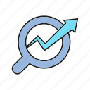 analytics, data analysis, graph, growth, magnifier, optimization, search icon