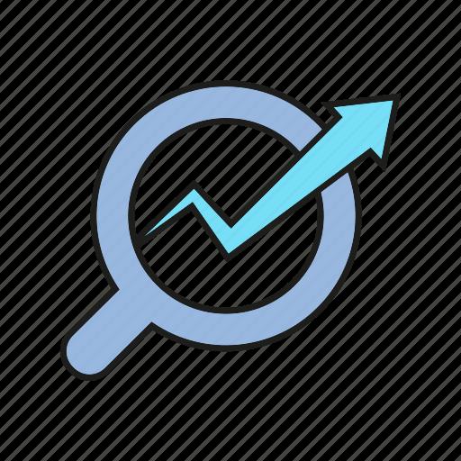 analytics, data analysis, graph, growth, magnifier, optimization, search icon