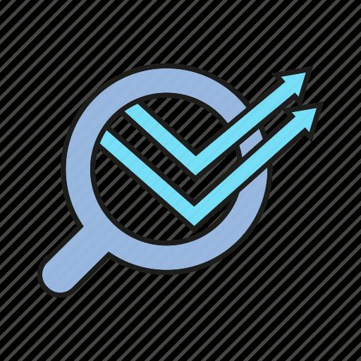 analytics, data, data analysis, graph, magnifier, optimization, search icon