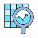 analytics, data, data analysis, graph, magnifier, optimization, search icon