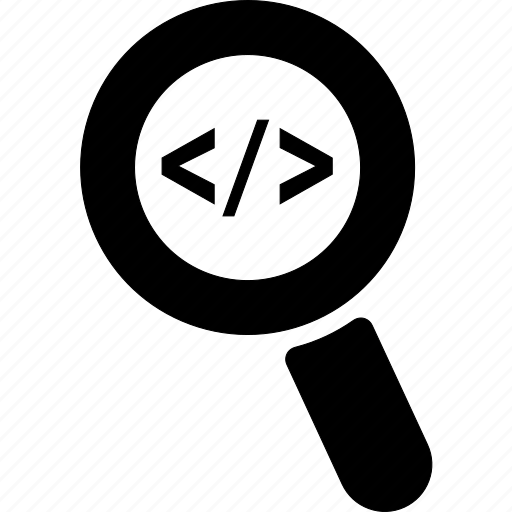 code, glass, html, magnifier, script, search, zoom icon