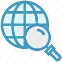 find, glass, magnifier, magnifying glass, search, world, zoom icon
