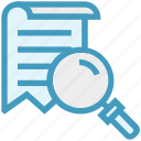document, find, glass, magnifier, magnifying glass, search, zoom icon