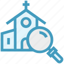 church, find, glass, magnifier, magnifying glass, search, zoom icon