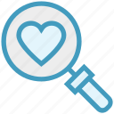 find, glass, heart, magnifier, magnifying glass, search, zoom icon