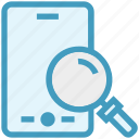 find, glass, magnifier, magnifying glass, mobile phone, search, zoom icon