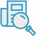 find, glass, magnifier, magnifying glass, search, sheet, zoom icon