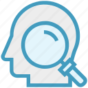find, glass, head, magnifier, magnifying glass, search, zoom icon