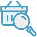 bucket, find, glass, magnifier, magnifying glass, search, zoom icon