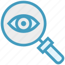 eye, find, glass, magnifier, magnifying glass, search, zoom icon