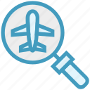 airplane, find, glass, magnifier, magnifying glass, search, zoom icon