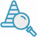 find, glass, magnifier, magnifying glass, road cone, search, zoom icon