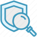 find, glass, magnifier, magnifying glass, search, shield, zoom icon