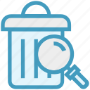 dust bin, find, glass, magnifier, magnifying glass, search, zoom icon