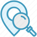 find, glass, location pin, magnifier, magnifying glass, search, zoom icon
