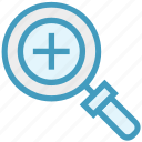 find, glass, magnifier, magnifying glass, plus, search, zoom icon