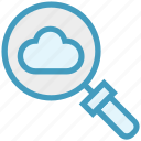 cloud, find, glass, magnifying glass, r, search, zoom icon