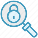 find, glass, locked, magnifier, magnifying glass, search, zoom icon
