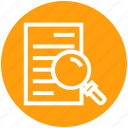 find, glass, magnifier, magnifying glass, paper, search, zoom icon