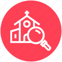 church, find, glass, magnifier, magnifying glass, search, zoom