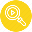 find, glass, magnifier, magnifying glass, media play, search, zoom