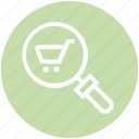 cart, find, glass, magnifier, magnifying glass, search, zoom