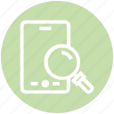 find, glass, magnifier, magnifying glass, mobile phone, search, zoom