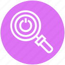 find, glass, magnifier, magnifying glass, on off button, search, zoom