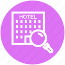 find, glass, hotel building, magnifier, magnifying glass, search, zoom