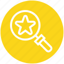 find, glass, magnifier, magnifying glass, search, star, zoom