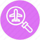 airplane, find, glass, magnifier, magnifying glass, search, zoom