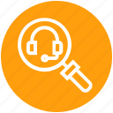 find, glass, headphone, magnifier, magnifying glass, search, zoom
